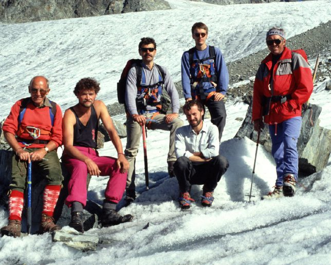 Gletschertour, Silvretta 1991. vlnr: Alfred Sturm (1924-2016), Erwin Schwab, Markus Bürner, Karl Spanowsky, Achim Potzl, Bergführer