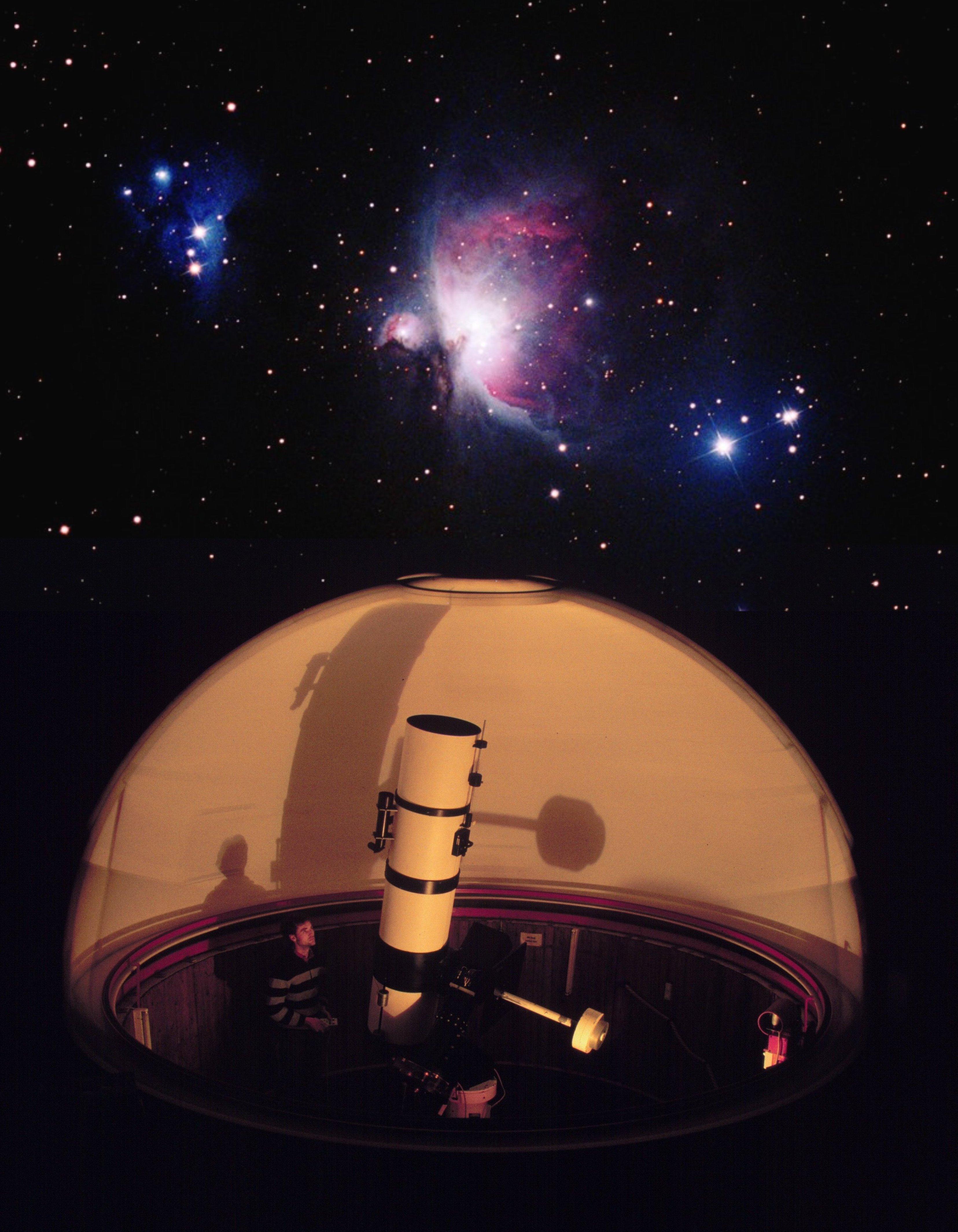 Starkenburg-Sternwarte, Fotomontage: Kuppel mit offenem Spalt, gedreht während Belichtung. Hintergrundbild       Orionnebel mit Flatfieldkamera 190/760mm auf Supera Color Negativfilm 800 ASA 2x20 Minuten.