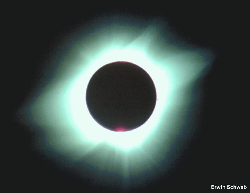 Totale Sonnenfinsterniss am 11.07.1991 Baja California  mit Tele 8/500mm, CONTAX 159MM  2sec.Belichtung, 100ASA